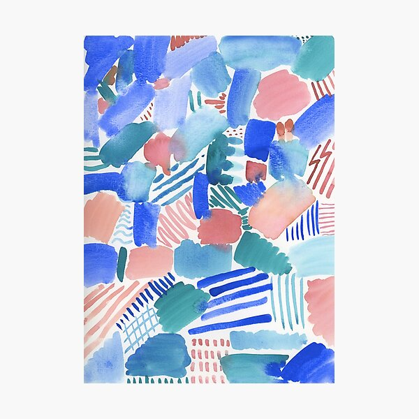fun abstract pattern blue coral and green Photographic Print