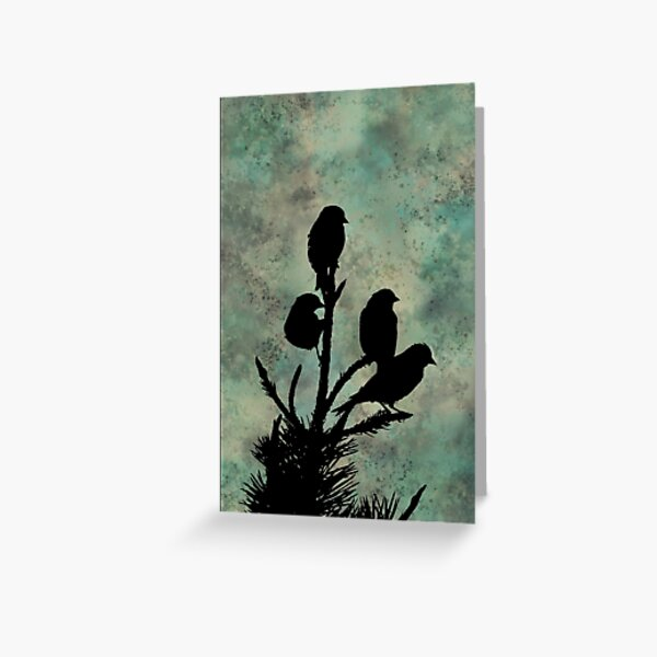 Four Birds on a Branch on Green Mottled Background Greeting Card