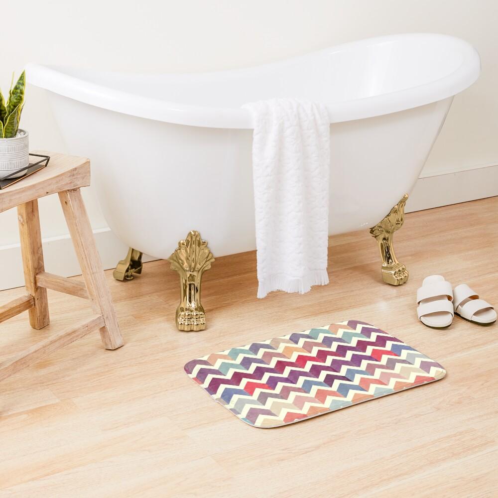 Watercolor Chevron Pattern VII Bath Mat