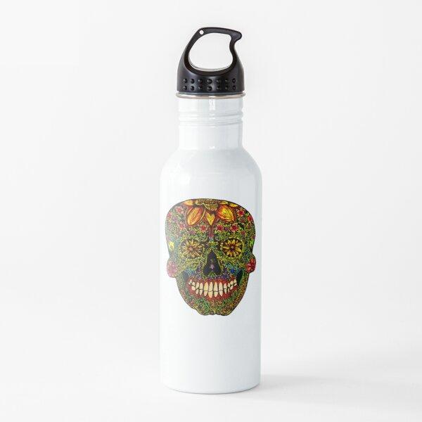 Day of the Dead Floral Sugar Skull- Halloween Water Bottle
