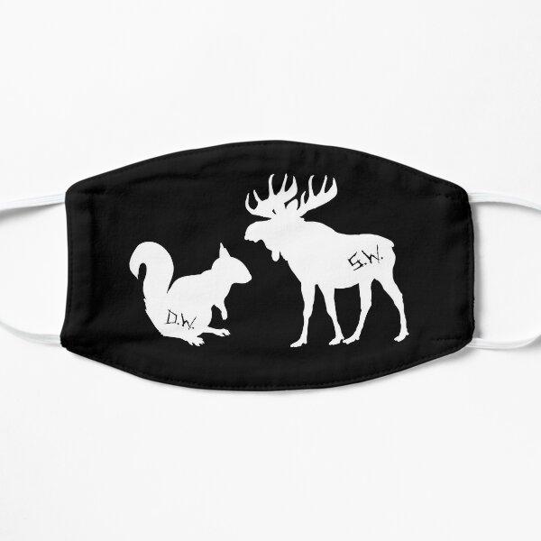 moose + squirrel - white Flat Mask