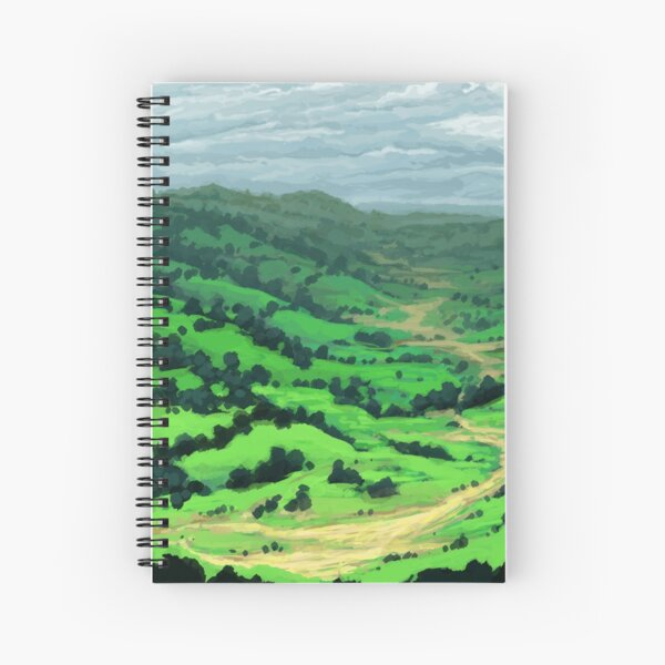 Peaceful Valley - Grassy Meadows and Hills with Trees Spiral Notebook