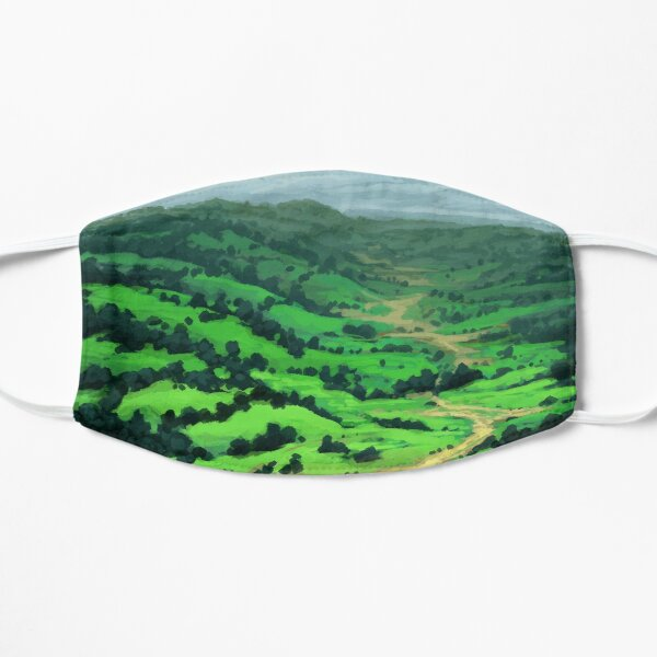 Peaceful Valley - Grassy Meadows and Hills with Trees Mask