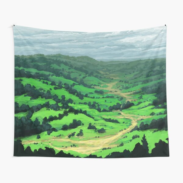 Peaceful Valley - Grassy Meadows and Hills with Trees Tapestry
