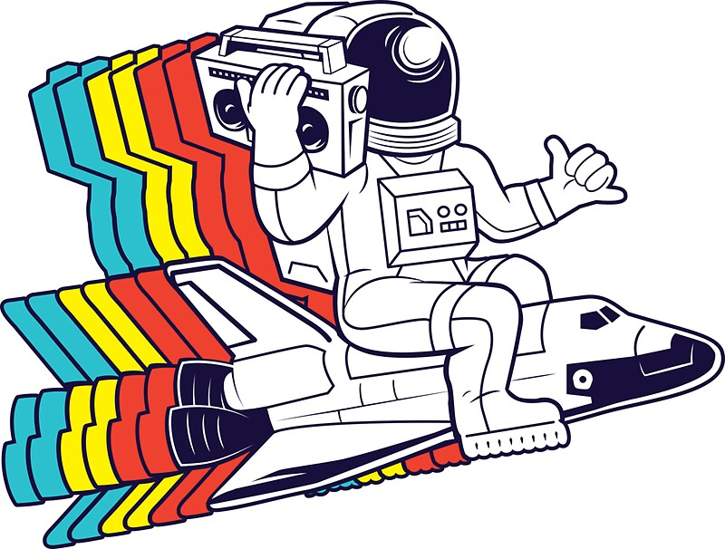 funky astronaut  Stickers. funky astronaut  Stickers by cintrao   Redbubble