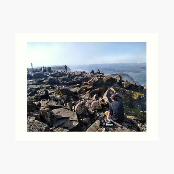 Climbers rest at the summit of Ben Nevis Art Print