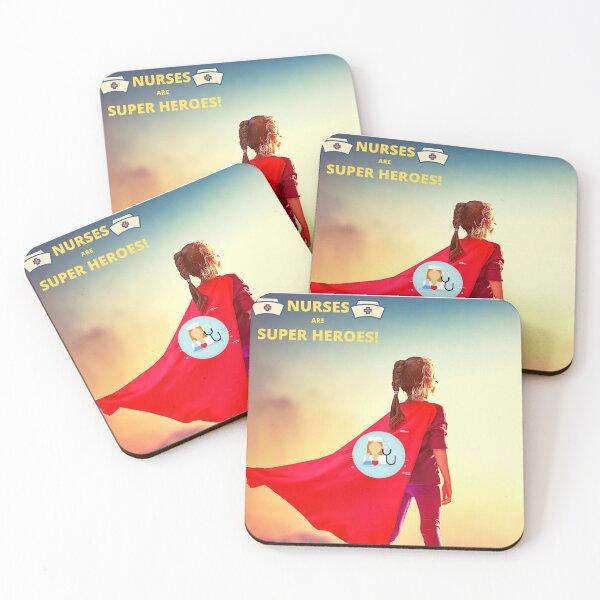 """""""HERO NURSES"""" Coasters (Set of 4)"""