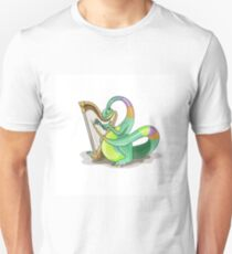 Illustration of a Plateosaurus playing the harp. Unisex T-Shirt