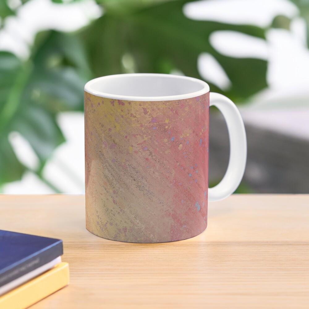 Warm Scratched-Metal Mask Abstraction Mug