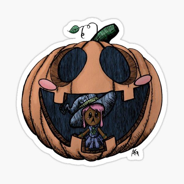Halloween Pumpkin Witch Sticker