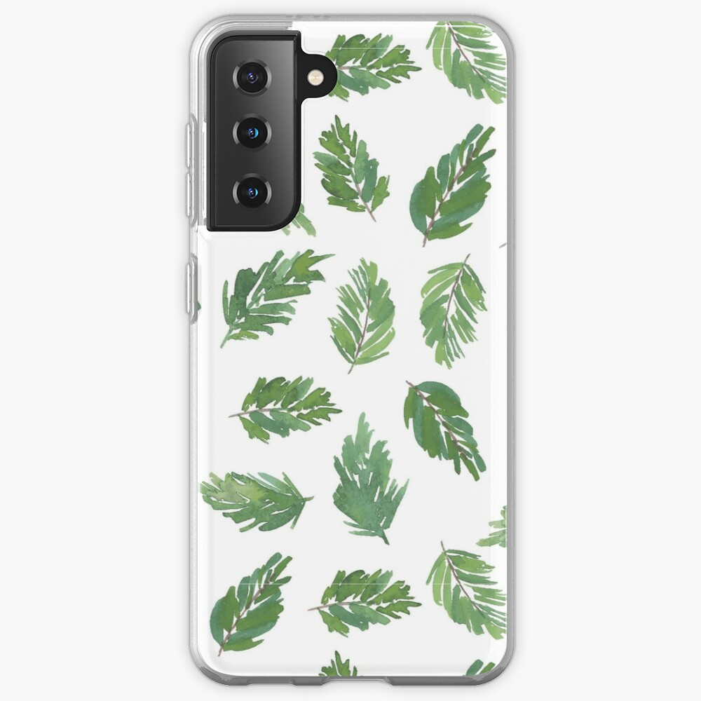 cute pine bough repeat pattern watercolor artwork Case & Skin for Samsung Galaxy