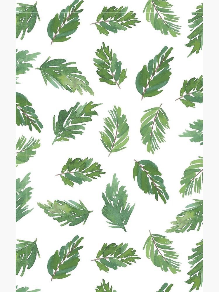cute pine bough repeat pattern watercolor artwork by jenofalltradesc