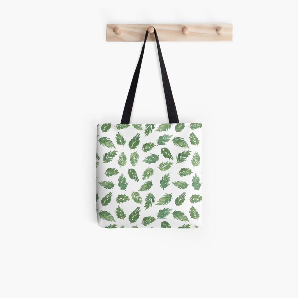 cute pine bough repeat pattern watercolor artwork Tote Bag