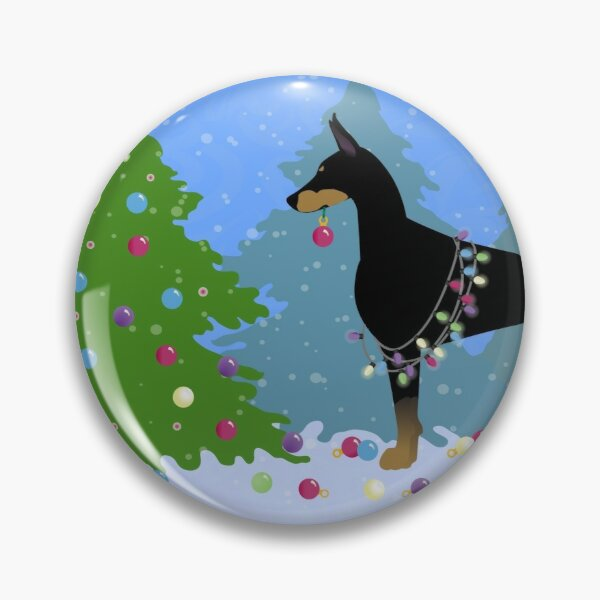 Doberman Pinscher Dog Decorating Christmas Tree in the Forest Pin