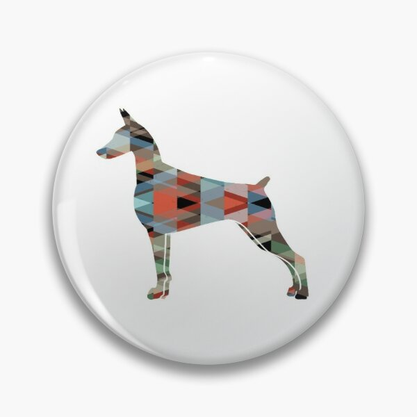 Doberman Pinscher Dog Geometric Pattern Silhouette Plaid Pin