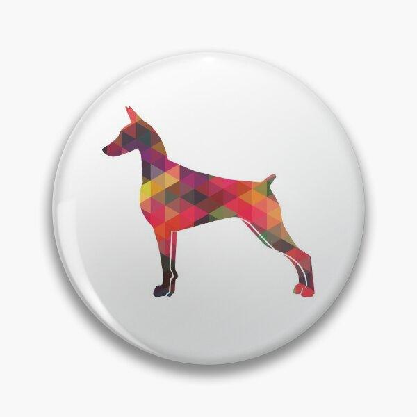 Doberman Pinscher Dog Geometric Pattern Silhouette Multi Pin