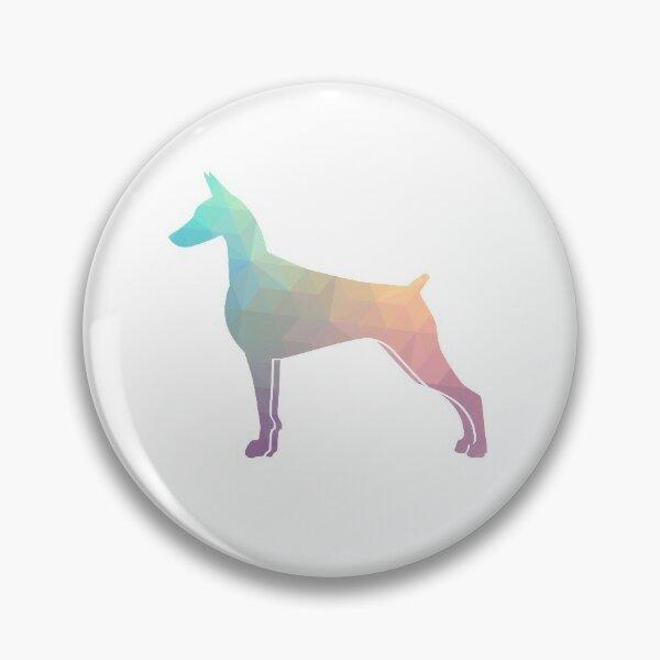 Doberman Pinscher Dog Colorful Geometric Pattern Silhouette - Pastel Pin