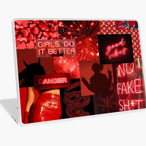 RED girl aesthetic Laptop Skin