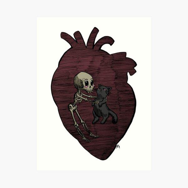 Halloween Skeleton and Cat Friends Art Print
