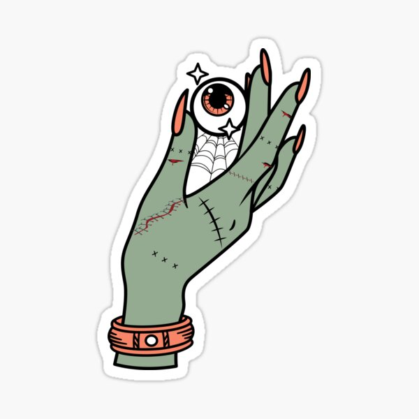 Oracle Zombie Hand Scary Eye Ball Sticker