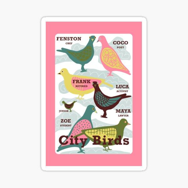 """""""City Birds aka Pigeons"""" Retro Scandinavian Journal Notebook Diary Magnet Design Sticker"""