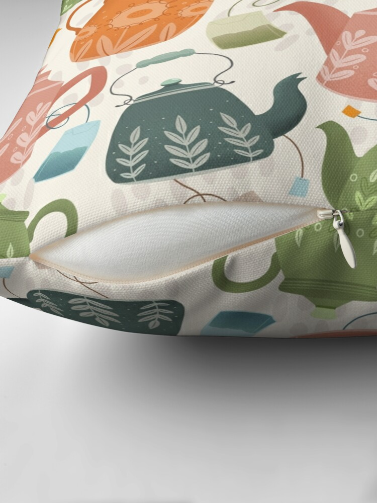 Alternate view of Floral Teapots Throw Pillow