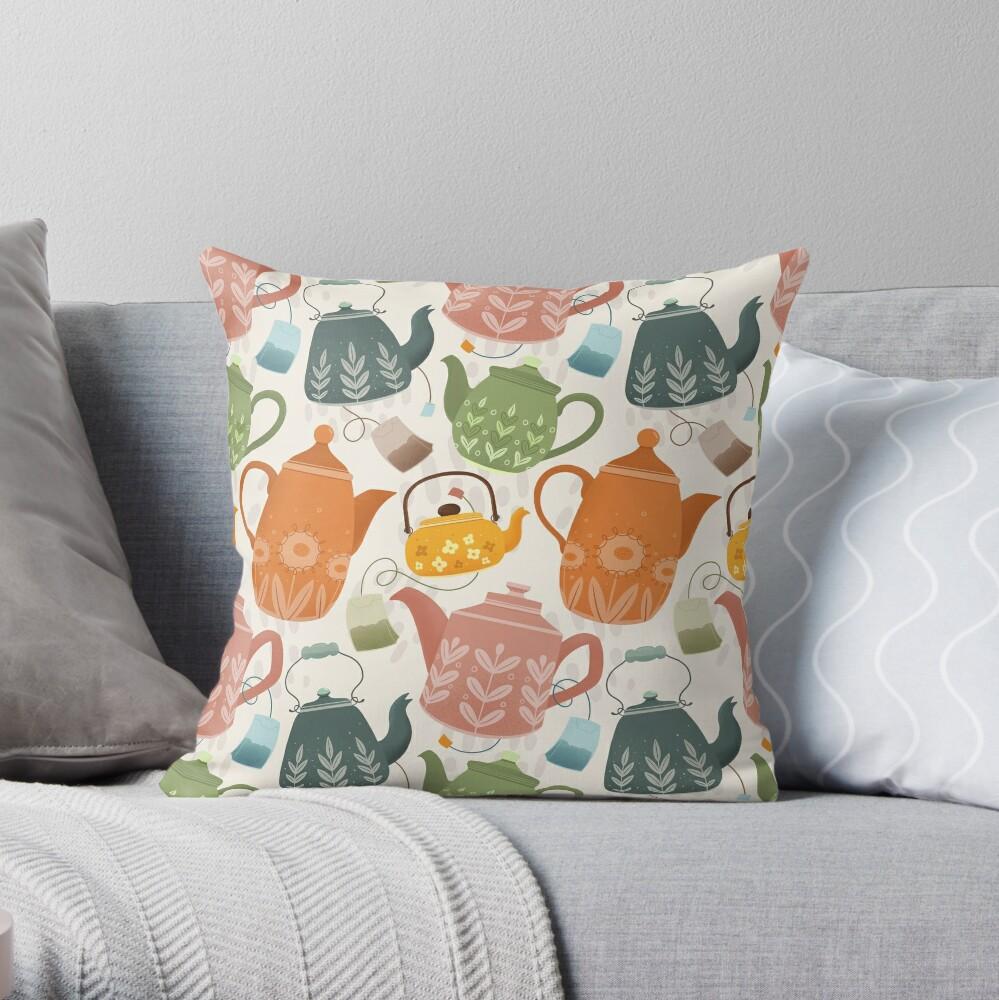 Floral Teapots Throw Pillow