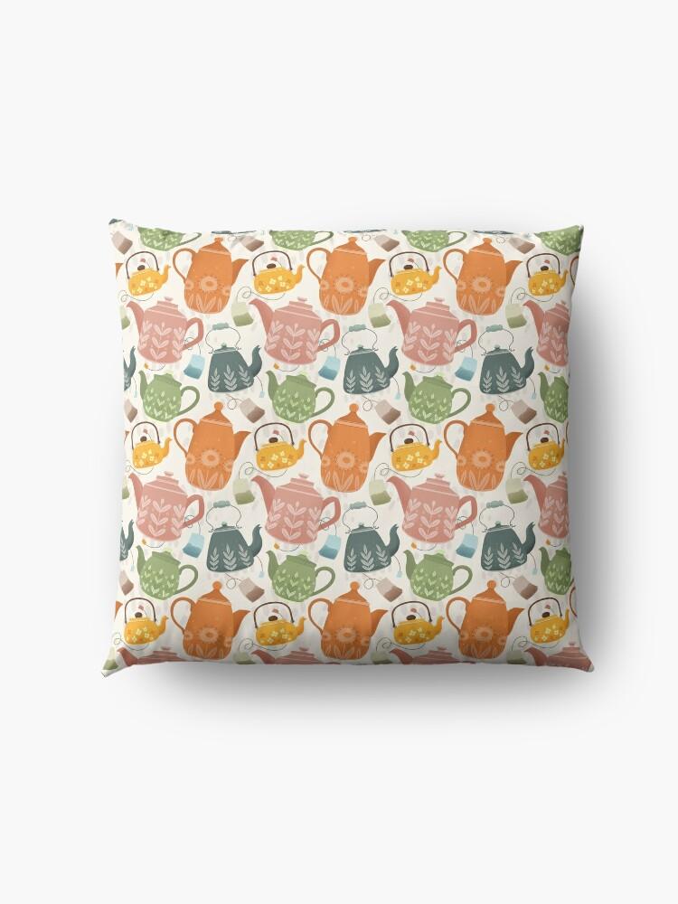 Alternate view of Floral Teapots Floor Pillow