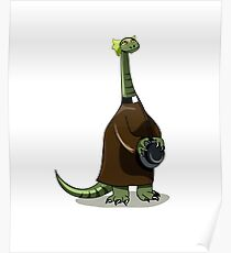 Illustration of a Plateosaurus dressed as a priest. Poster
