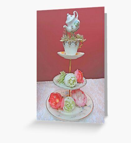 Tea & Peonies  Greeting Card
