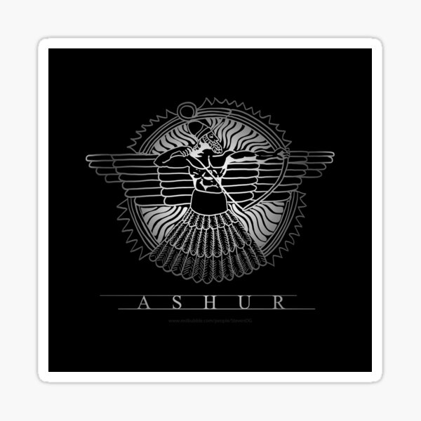 Assyrian god Ashur on Black Sticker