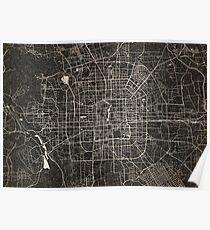 Beijing map ink lines Poster
