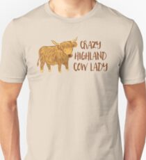 Crazy Highland cow lady Unisex T-Shirt