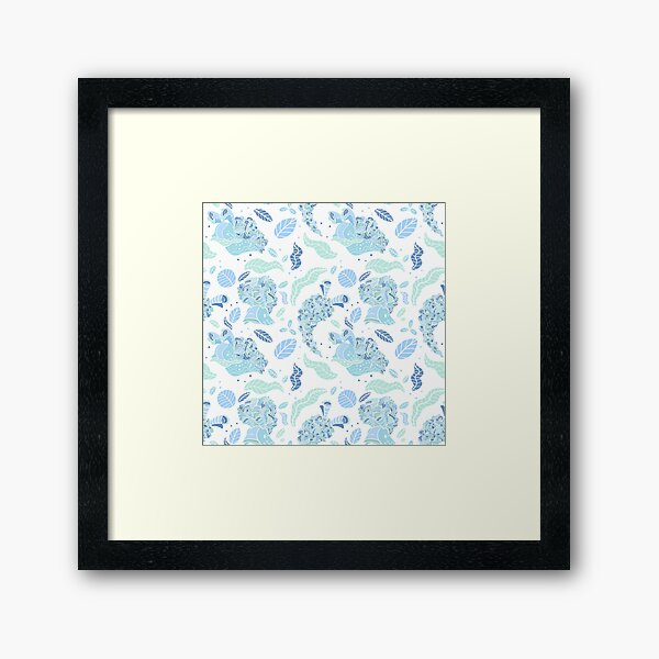 Elysia Crispata Lettuce Sea Slug Pattern - Icy Winter Framed Art Print