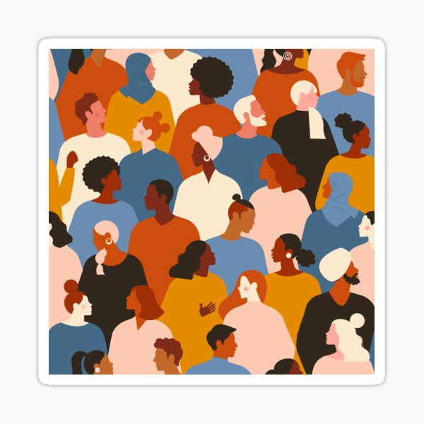 Crowd of young and elderly men and women in trendy hipster clothes. Diverse group of stylish people standing together. Society or population, social diversity. Flat cartoon illustration. Sticker