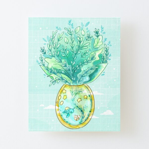 Tropical Fantasy Pineapple Terrarium with Sea Turtle, Clownfish and Stars Canvas Mounted Print