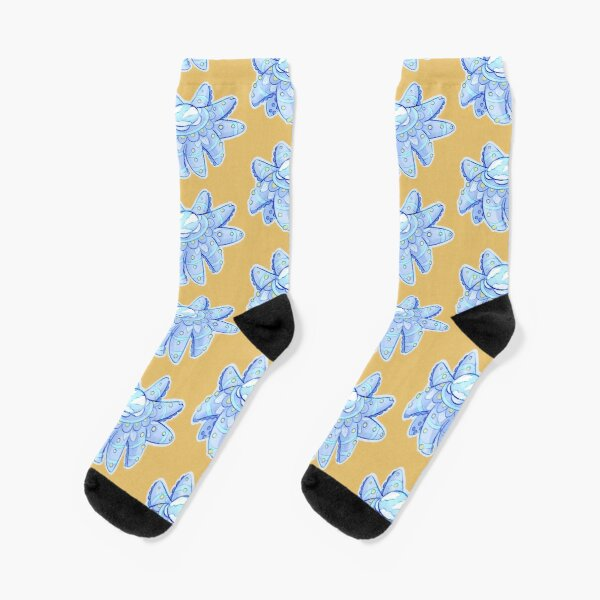 Decorative Blue Zombie Starfish with Nature Floral Patterns Socks