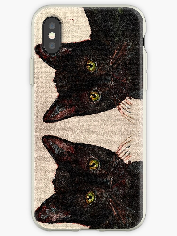 Curious Cats (Black Bombay Cat painting) by CecelyBloom