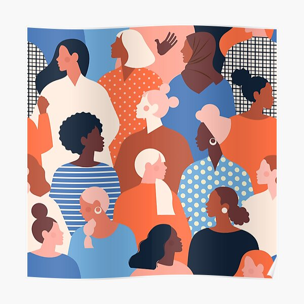 Women empowerment movement pattern. International women's day graphic. Poster