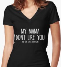 Justin Bieber - My Mama Don't Like You - White Print Women's Fitted V-Neck T-Shirt