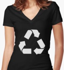 White RECYCLE SYMBOL Women's Fitted V-Neck T-Shirt