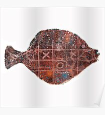 Noughts and crosses on the fish, orange, blue, red, white, black Poster
