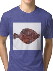Noughts and crosses on the fish, orange, blue, red, white, black Tri-blend T-Shirt