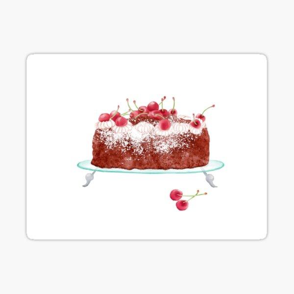 Watercolor Illustration of German style dessert - Black Forest Cherry Cake Sticker