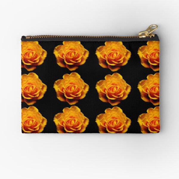 Glimmery Yellow Roses On Black Zipper Pouch