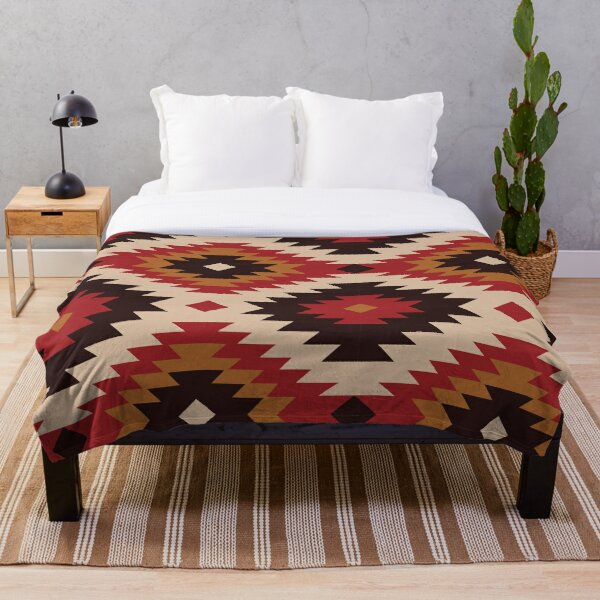 Navajo Red And Mustard Throw Blanket
