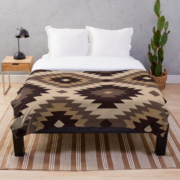 Navajo Ivory To Brown Throw Blanket
