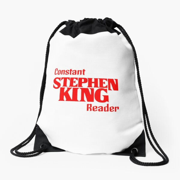 Book - Stephen King Constant Reader (red, text only) v2 Drawstring Bag