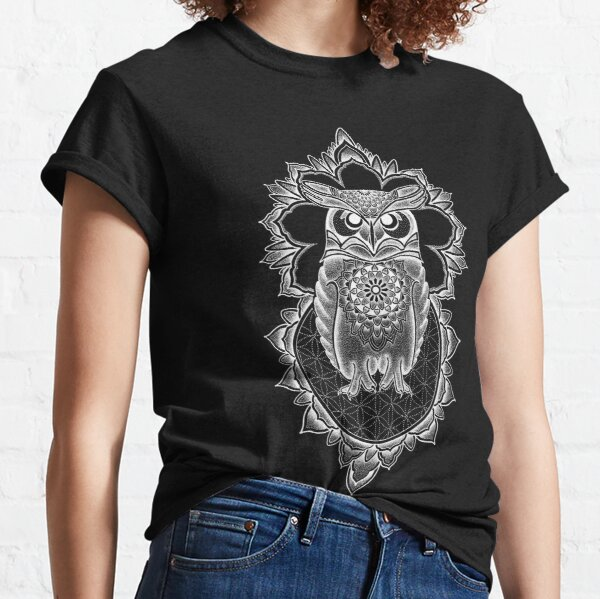 White owl mandala in pen and ink dotwork Classic T-Shirt