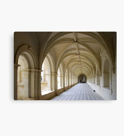 Arcade of abbey of Fontrevaud Canvas Print